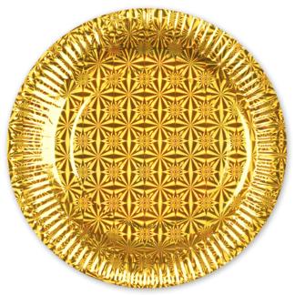 Тарелки голография, Золото, 6штук