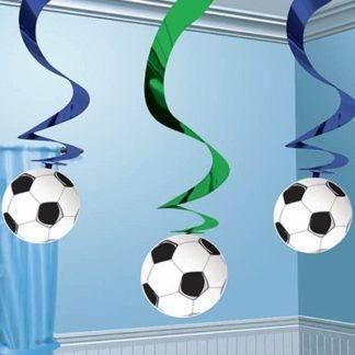 Спирали фольгированные Футбол, 5 штук