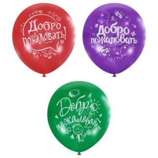 """Воздушные шарики 12""""/30см с 2 ст. рис (шелк) Пастель и декоратор Добро пожаловать 10шт"""