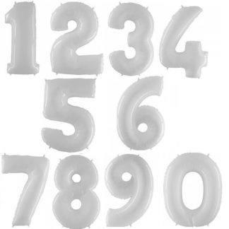 Шар цифра, белый (0-9), 102см