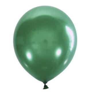 Воздушный шарик 30 см, зелёный мет. 10штук