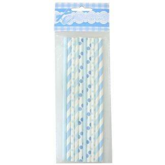 Трубочки для коктейля бумажные голубые, 10шт