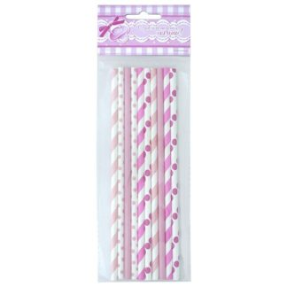 Трубочки для коктейля бумажные розовые, 10шт