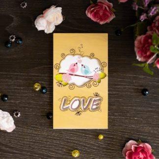 Деревянная открытка (птички - LOVE)
