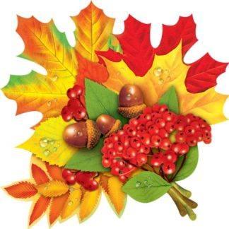 Украшение на скотче Листья с рябиной
