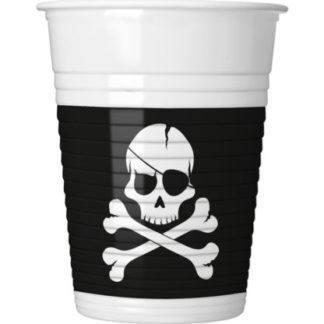 Стаканы пластиковые Череп пирата