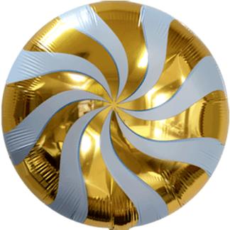 Шар из фольги, Круг, Золотой леденец, 46см