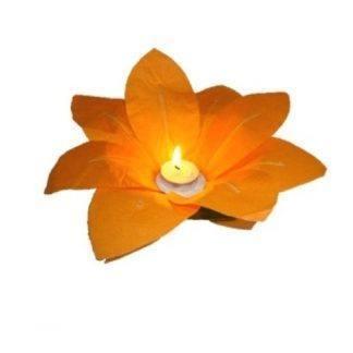 Водный фонарик Лотос оранжевый