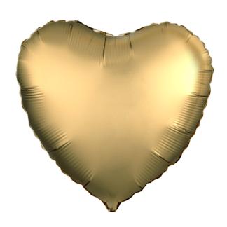 Шарик из фольги сердце Золотой, Сатин 46см