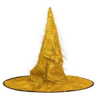 Карнавальная шляпа Конус, золотая
