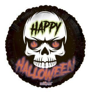 Шар фольгированный Круг, Halloween Череп, 45см