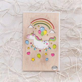 Деревянная открытка Единорог
