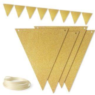 Гирлянда флажки, Золото, с блестками, 300см