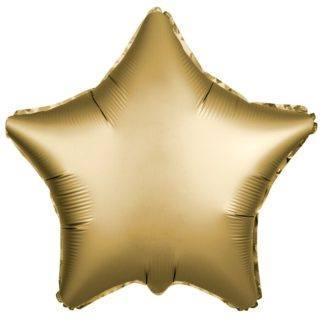 Шарик из фольги звезда Золотая, Сатин