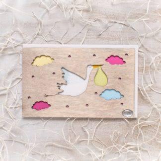 Деревянная открытка Аист