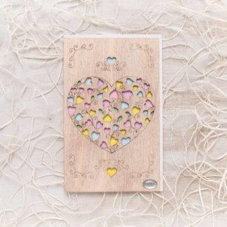 Деревянная открытка Сердце