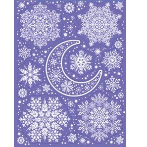 "Наклейки ""Зимние украшения на окна - Месяц и снежинки"""