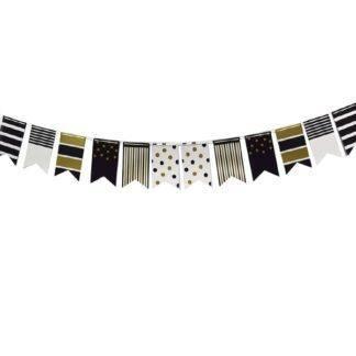 Праздничная гирлянда флажки Black&Gold, 250см