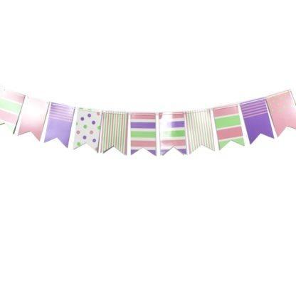 Праздничная гирлянда флажки Pink&Blue, 250см