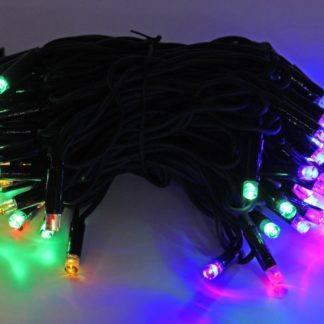 Электрогирлянда Led Light, 100 разноцветных LED ламп, 10 м, коннектор, черный провод-каучук, уличная