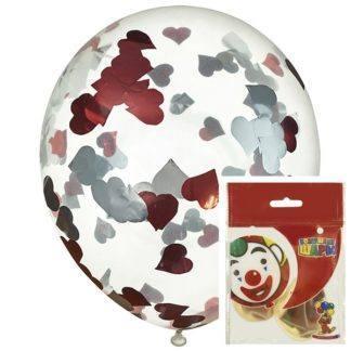 Воздушный шар Прозрачные с конфетти сердца