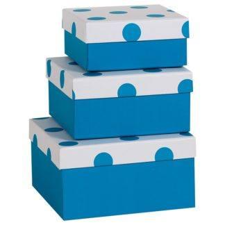 Коробочка синяя в точку, 13*13*6см