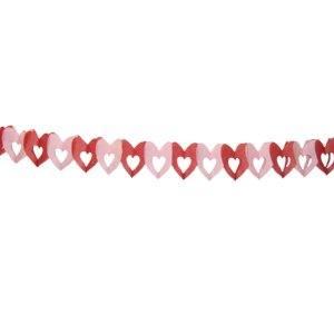 Бумажная гирлянда розово-малиновая Сердечки 6х6см 4м