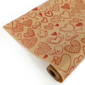 Упаковочная бумага Крафт (0,72 х 10 м) Сердечки