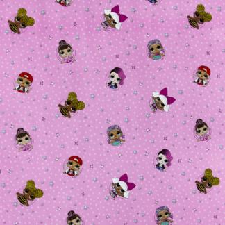 Упаковочная бумага 90гр (0,70 х 1 м) Кукла Лол (LOL), Розовый, 2 шт