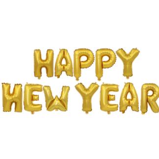 """Набор шаров-букв 41 см, Надпись """"Happy New Year"""" Золото"""