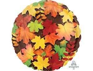 Шарик из фольги, круг, Листья осенние, 46см