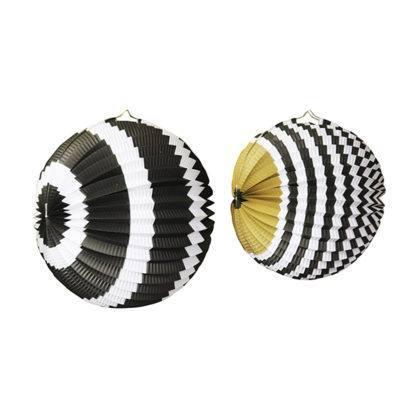 Набор бумажных фонариков 25см, 30см Черное ассорти, 2шт