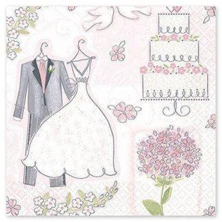 Салфетки Свадьба Романтика, 16 штук