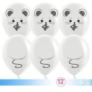 Набор шаров Мышка белая, 10шт, 30см