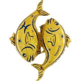 Шар фольгированный Гороскоп Зодиак Рыбы золотой