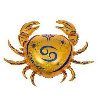 Шар фольгированный Гороскоп Зодиак Рак золотой