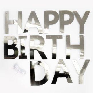 Гирлянда-буквы, Happy Birthday, Серебро, 250 см