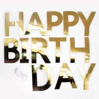 Гирлянда-буквы, Happy Birthday, Золото, 250 см