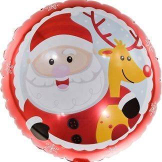 Шар фольгированный 45 см, Круг, Веселый Дед Мороз с оленем