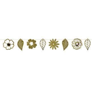 Праздничная гирлянда Цветы и листья золото 300см