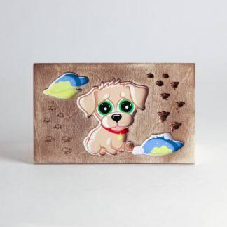 Деревянная открытка Щенок
